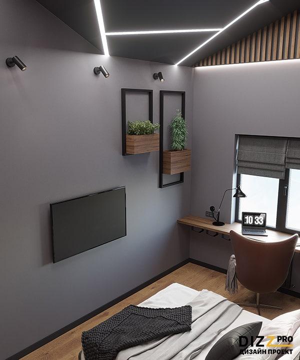 Дизайн интерьера мужской спальня высокие потолки
